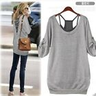 Womens Sexy Cross V Back Round Neck Two-piece Blouse Loose Casual T- Shirt Tops