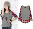 Korea Style Women Plaid Checked Long Sleeve Casual Loose T shirt Tops Blouse