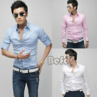 New Hot Men's Stylish Long Slim fit Casual Long Sleeve Luxury 3Colors Shirt BF00