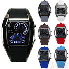 Men's Blue LED Flash RPM Turbo Speedometer Sports Car Dial Meter Gift Watch