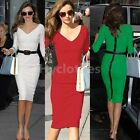 Sexy womens V Neck 3/4 Sleeve Bodycon Stretch Party Pencil Dress US2-16 D683