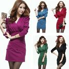 Womens Long Sleeve Pleated Hip Package V Neck Slim Mini OL Bodycon Dress