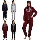 NEW WOMENS HOODED LADIES CAT PRINTED PYJAMA ALL IN ONE JUMPSUIT ONESIE SIZE 8-12