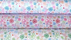 FQ  FLORAL COTTON FABRIC FAT QUARTER LOVE GREEN PINK BLUE CHOOSE YOUR COLOUR