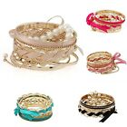 New Multilayers Woven Pearl Lace Bangle Ribbon Bow Bracelet Jewelry Beauty Punk