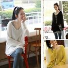 Womens V-neck Oversized Batwing Knitted Shirt Jumper Loose Pullover Sweater Tops