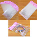 100pcs Wholesale Pink Clear Self Adhesive Seal Plastic Jewelry Bags Size Choose