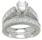 3 CARAT .925 STERLING SILVER ROUND WEDDING ENGAGEMENT RING SET SIZE 5 6 7 8 9