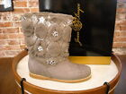 Joan Boyce Grey Quilted Faux Fur Ankle Boots New