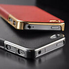 New Luxury Leather Chrome Hard Back Case Cover For iPhone 5 5S - Gold & White