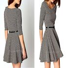Elegant Lady Women British Style Plaid Crew Neck Half Sleeve Pleated Mini Dress