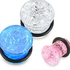 Pair Acrylic Cracked Glass Design Single Flare Ear Plugs Tunnels Gauges