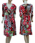 Wrap Dress w Floral n Multi Prints 3/4 Sleeve Below Knee Length Size 10 12 14