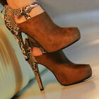 Womens Bootie Suede Snakeskin Back Heeled Ankle Boot Heels US Size 5/6/7/8 B20E