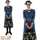 Mary Poppins + Hat Ladies Fancy Dress Disney Victorian Musical Womens Costume
