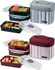 Lock & Lock Bento Rectangular Lunch Box 3-Piece Set with Insulated Stripe Bag