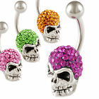 belly navel ring crystal button bar skull piercing jewelry ferido earrings 9IQF