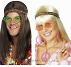 60s 70s Hippie Kit Glasses CND Necklace Headband Earrings Hippy Fancy Dress