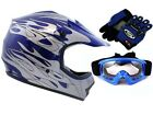 Youth Blue Flame Dirtbike Off Road ATV Motocross Helmet MX +Goggles Gloves SML