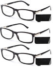 Thin Slim Rectangular Frame Reading Glasses with Accented Metal Spring Temples