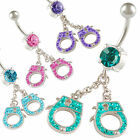 button bar crystal belly rings handcuff cute dangly navel piercing earrings 9IQH