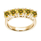 1.30 Ct Round Yellow VS Citrine 925 Yellow Gold Plated Silver Ring