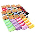 Universal Comfort One Size Fits Most Soft Stretch Striped Toe Socks (12 Colors)