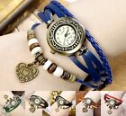 Retro Dangle Heart Pendant Drop,Leather Strap Wrap Quartz Analog Watch Bracelet