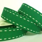 5 METRE WHITE STITCH RED OR GREEN RIBBON 15 MM  CHOOSE COLOUR