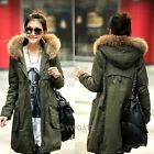 Women Cotton Blend Army Green Fur Hooded Mid Long Thicken Warm Jacket Coat Parka