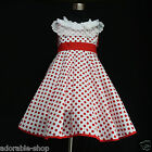 W3122 Reds White Christmas Wedding  Girls Party Dress AGE SIZE 2,3,4,5,6,7,8,10Y