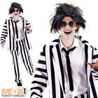 Crazy Ghost Mens Fancy Dress Movie Halloween Black & White Striped Suit Costume