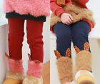 Girls Winter Warm Thick Leggings Pants Fleece Lined Kids Trousers 2-7Year Lovely
