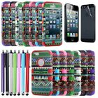 For iPhone 5 5G Hybrid Bohemia Tribal Shockproof Rugged Case Cover + Pen & Film