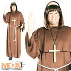 Friar Tuck Mens Fancy Dress Robin Hood Medieval Priest Costume Outfit + Wig