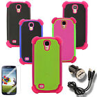 Case for Samsung Galaxy S 4  Cover Skin Faceplate PC Silicone Car Charger