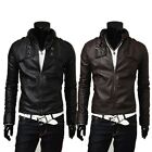 New Fashion Men Stand Collar Slim Fit Synthetic Leather Jacket Outwear Black L