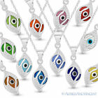 Evil Eye Glass Bead Greek Turkish Nazar Hamsa Pendant Sterling Silver Necklace