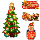 Glistening Light Up PVC Christmas Silhouette Festive Window Decoration New