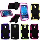 For Samsung Galaxy S4 i9190 Mini Hybrid Holster Kickstand Belt Clip Rubber Case