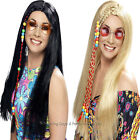 Long Straight Wig With Plaits Beads 60s 70s Hippie Hippy Fancy Dress Mens Ladies