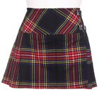 New Ladies Black Stewart Tartan Scottish Micro Mini Billie Pleated Kilt W26-42in