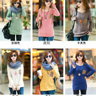 Women Crew Neck Loose Long Sleeves Knitted Pullover Jumper Sweater Tops