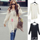 Casual Womens Fringed Hem Batwing Sleeve Loose Knitted Sweater Knitwear Tops