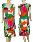 Womens Faux Wrap Summer Day Dress Pink Green Orange Print Cap Sleeve SZ 10 12 14