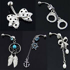 New Navel Belly Button Barbell Ring Crystal Rhinestone Dangle Body Piercing