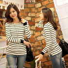 New Womens Striped Color T-Shirts Long Sleeve Casual Tee Tops Ladies Girl Blouse