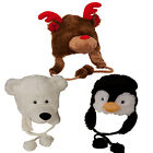 KIDS PLUSH WARM WINTER ANIMAL POM POM HATS EAR FLAPS POLYESTER COMFORT CHRISTMAS
