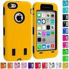 For iPhone 5C Color Hybrid Hard/Soft Case Cover with Built in Screen Protector