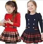 New Kids Toddler Girls Red Navy Plaid Party Long Sleeve 2-7Y Cotton Tutu Dresses